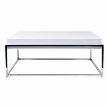 Greta Coffee Table in White Lacquer and Chrome