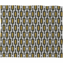 Grey Gold Geometry Fleece Throw Blanket