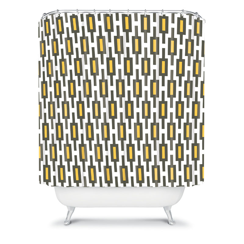District17 Grey Gold Geometry Shower Curtain Shower Curtains