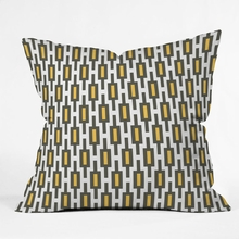 Grey Gold Geometry Throw Pillow