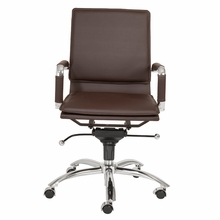Gunar Pro Low Back Office Chair in Brown Leatherette and Chrome