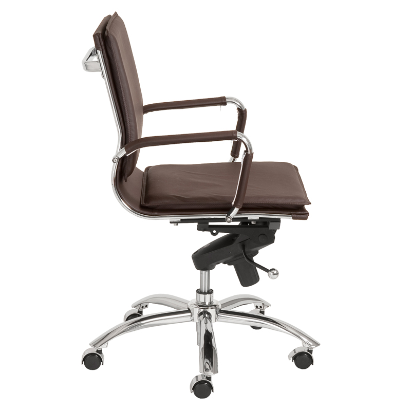District17 Gunar Pro Low Back Office Chair In Brown Leatherette And Chrome