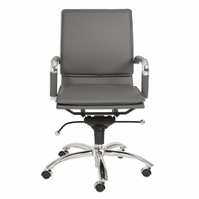 Gunar Pro Low Back Office Chair in Gray Leatherette and Chrome