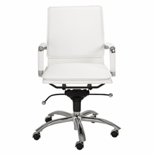 Gunar Pro Low Back Office Chair in White Leatherette and Chrome