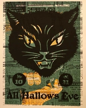 Hallows Eve Cat Canvas Wall Art
