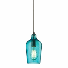 Hammered Aqua Glass Mini Pendant In Oil Rubbed Bronze