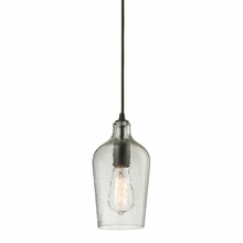 Hammered Clear Glass Mini Pendant In Oil Rubbed Bronze