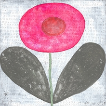Happy Flower Small Vintage Canvas Print on Wood
