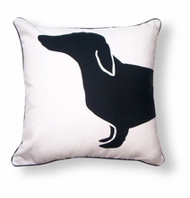 Happy Hot Dog Reversible Throw Pillow in Black and White