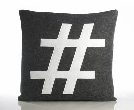 Hashtag Recycled Felt Throw Pillow