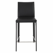 Hasina Counter Stool in Black and Stainless Steel - Set of 2