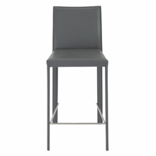 Hasina Counter Stool in Gray and Stainless Steel - Set of 2
