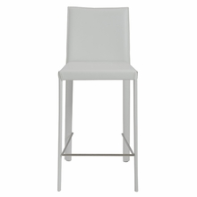 Hasina Counter Stool in White and Stainless Steel - Set of 2