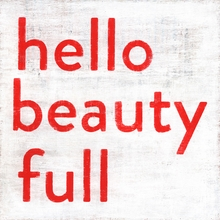 Hello Beauty Full Small Vintage Canvas Print on Wood