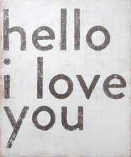 Hello I Love You Vintage Canvas Print on Wood