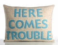 Here Comes Trouble Recycled Felt Throw Pillow