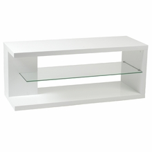 Hilda Media Stand in White Lacquer and Clear