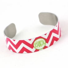 Hot Pink Chevron Monogram Thin Cuff Bracelet