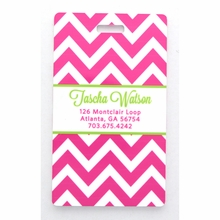 Hot Pink Chevron Personalized Luggage Tag Set