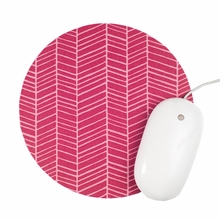 Hot Pink Herringbone Mouse Pad