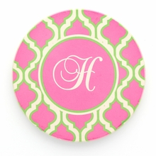 Hot Pink Quatrefoil Initial Personalized Coaster Set