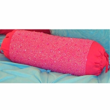 Hot Pink Sparkle Beaded Bolster Pillow