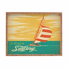 I Would Rather Be Sailing Rectangular Tray