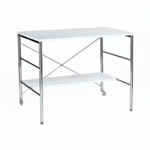 Ida Desk in White Lacquer and Chrome