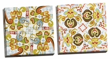 Ikat Tile I, II Canvas Wall Art Set