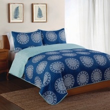 Indigo Medallion Quilt with Pillow Sham
