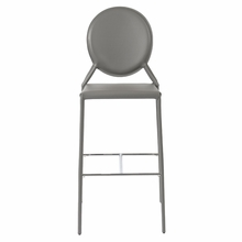 Isabella Bar Chair in Gray Leather - Set of 2