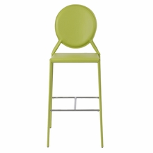 Isabella Bar Chair in Green Leather - Set of 2