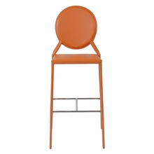 Isabella Bar Chair in Orange Leather - Set of 2