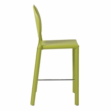 Isabella Counter Chair in Green Leather - Set of 2