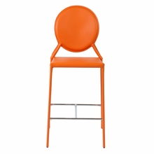 Isabella Counter Chair in Orange Leather - Set of 2