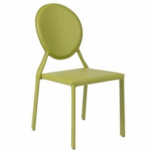 Isabella Side Chair in Green Leather - Set of 2