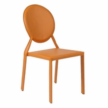 Isabella Side Chair in Orange Leather - Set of 2