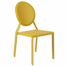 Isabella Side Chair in Yellow Leather - Set of 2