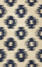 Ivory and Blue Simplicity Ikat Rug