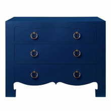 Jacqui Large 4-Drawer Chest - Navy Blue