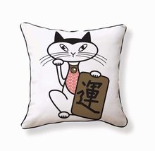 Japanese Lucky Cat Reversible Throw Pillow