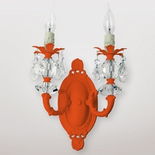 Jupiter Neon Orange Clear Crystal Double Wall Sconce