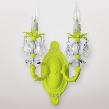 Jupiter Neon Yellow Clear Crystal Double Wall Sconce