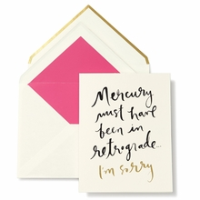 Kate Spade Mercury In Retrograde I'm Sorry Greeting Card