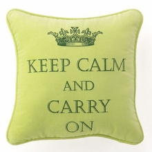 Keep Calm & Carry On Velvet Embroidered Pillow in Green - Set of 2