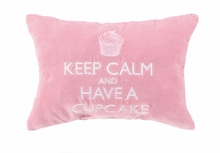 Keep Calm & Have a Cupcake Velvet Embroidered Pillow - Set of 2