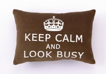 Keep Calm & Look Busy Velvet Embroidered Pillow - Set of 2