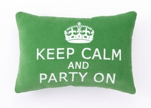 Keep Calm & Party On Velvet Embroidered Pillow - Set of 2