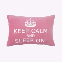 Keep Calm & Sleep On Velvet Embroidered Pillow - Set of 2