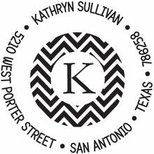 Kelly Hughes Chevron Initial Personalized Self-Inking Stamp